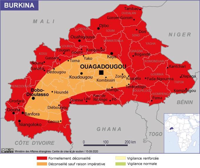 Zone rouge au Burkina Faso au 1er octobre 2020